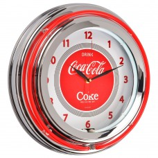 Coca-Cola retro wall clock neon style
