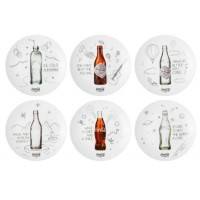 set of 6 Coca-Cola bottle plates