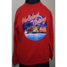 Coca-Cola Christmas TRUCK DRIVING THRU SNOW sweater Red size LARGE