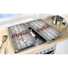 glass cooking covers Coca-Cola wood style
