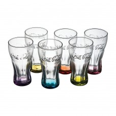 6 Coca-Cola glasses 30cl with different colours on bottom