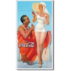 Metal sign Man & Woman near the beach