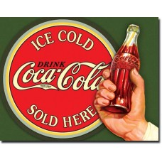 Metal sign Ice cold Coca-Cola sold here' bottle in hand'