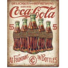 Metal sign Delicious - Refreshing' 5 bottles design'