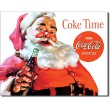 Metal sign Santa Coke Time
