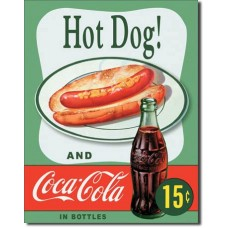 Metal sign Hot Dog' green background'