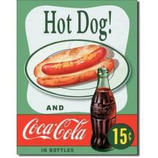 Metal sign Hot Dog' green background'