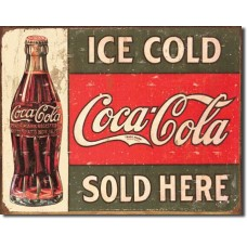 Metal sign Ice cold Coca-Cola sold here' bottle on left'