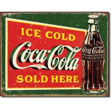 Metal sign Ice cold Coca-Cola sold here' bottle on right'