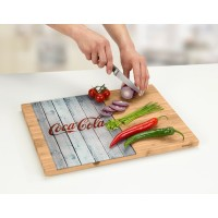 glass cutting board on bamboo side in wood style