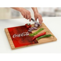 glass cutting board on bamboo side in red style